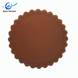 Colorido forma redonda com a FDA Grau Alimentício Flower Placemat de Silicone