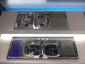 Venda a quente Taça duplo com pia de cozinha de aço inoxidável instalar no mercado do Oriente Médio 15050d