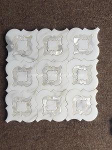 De witte Marmeren Tegels van het Mozaïek van de Steen van het Ontwerp