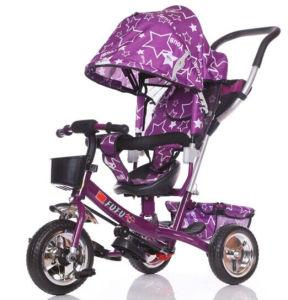 ベビーカー、赤ん坊の三輪車は、三輪車、1台の三輪車に付き子供のバイク4台をからかう