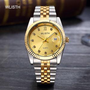 Las parejas en el Calendario de tabla de la mujer reloj de lujo impermeable reloj de oro de la correa de Oro de la moda Men's Watch Gran dial tabla Estudiante