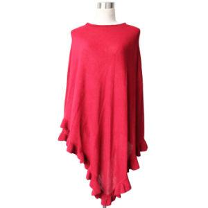 Fashion Acrylic Knitted Ruffleの女性ポンチョ(YKY4107-1)