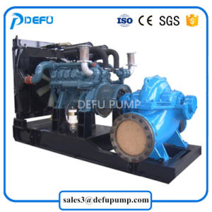 Cas de fractionnement de grande capacité de la pompe à eau centrifuge avec moteur Diesel