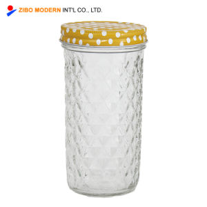 Mason Copo de vidro de boca larga com tampa roscada de Prata