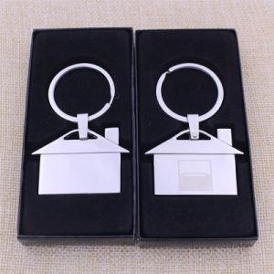최신 판매 까만 선물 상자를 가진 주문 금속 집 Keychain