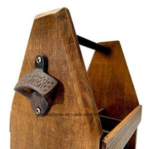 Transportador de cerveja de madeira artesanais personalizados com abridor de garrafa