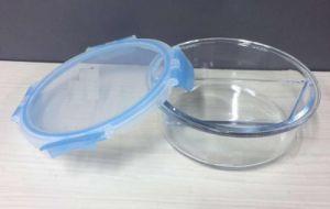 Cristal 600 ml de contenedores de alimentos con dos compartimentos (DIVISOR DE ALTO)