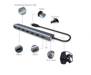 7 puertos USB 3.0 HUB de aleación de aluminio