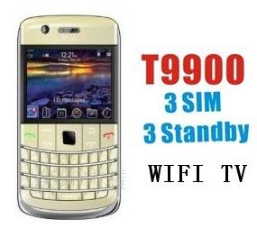 Telefono mobile di WiFi TV della carta di 3 SIM (T9900)