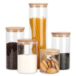 Haute cuisine en verre borosilicaté Food Storage pot avec couvercle hermétique de bois de bambou