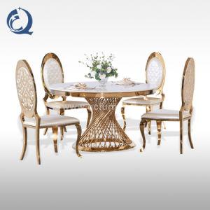 Hotel de lujo, mesa de comedor Muebles de acero inoxidable mesa de comedor de oro en forma redonda