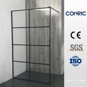 Enmarcado en negro de cristal templado de la Puerta de Bisagra Receptáculo de ducha ajustable 7305