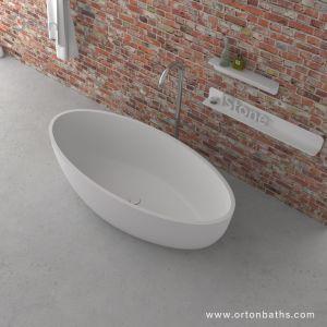 屋内優れた品質の卵の形の固体表面の石造りの支えがない浴槽