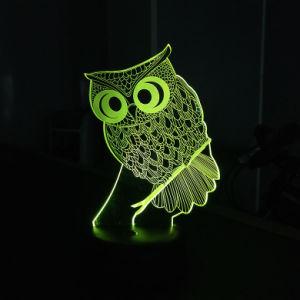 3D錯覚の漫画のフクロウは寝室の装飾のための緑LED軽い夜をからかう