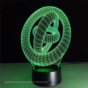Schemerlamp van de Afstandsbediening van het LEIDENE Hologram van de Nacht de Lichte Kleurrijke 3D voor de Gift van Kerstmis