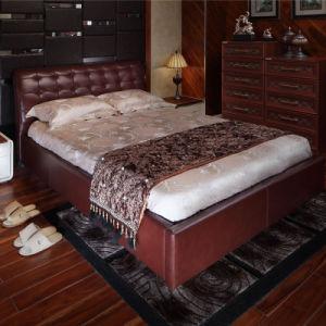 Cama do couro do bronze da mobília do quarto da parte alta de Oppein (CH1306B180)