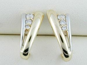 orecchino dell'oro giallo 10K con il diamante (LED1041)