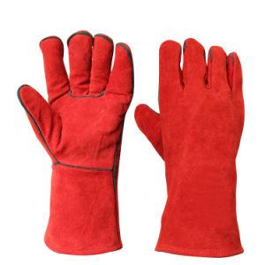 빨간 방열 손 안전 방어적인 가죽 일 용접 장갑