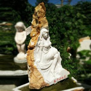 Mooie Natuurlijke Marmeren Steen Dame Statue Sculpture Water Wall Fontein