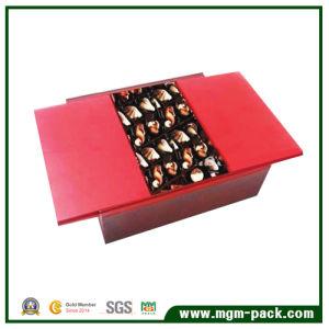 La moda el doble de las tapas de madera roja Caja de regalo de chocolate