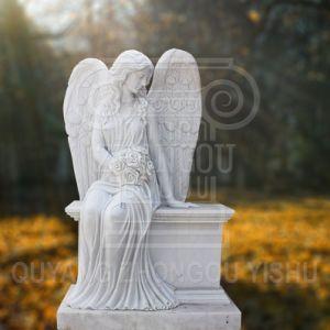 Monumento a la decoración de jardín de piedra de mármol blanco hermoso Ángel escultura estatua