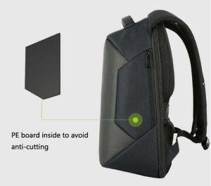 Morral gris de la computadora portátil del bolso del ordenador del Anti-Ladrón con el acceso de carga del USB