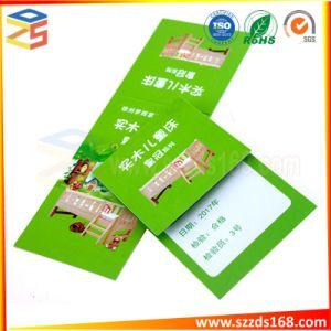 Plaza de la impresión a doble cara de cadena de Plástico Papel plegado Hang Tag