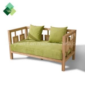 カスタマイゼーションの贅沢な現代デザイン家具製造販売業のレストランのホテルのロビーの居間のラウンジのための木の3つのシート革ファブリックソファー