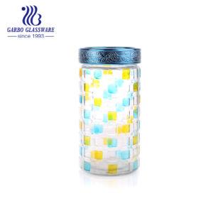 زرقاء وأصفر زجاجيّة تخزين مرطبان مع غطاء بلاستيكيّة [غب21011200فك-جب2]