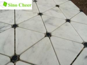 Triángulo de mármol blanco de Carrara italiano Mosaico
