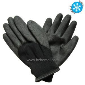 手袋の柔らかいサンディの絶縁されたニトリルは冬作業手袋に塗った
