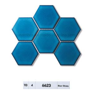 95X110 de verglaasde Zwarte Tegel van het Mozaïek van het Porselein van de Steen Hexagon voor Gebruik Intrior en Extrior