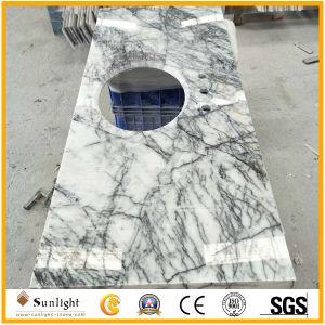 La cucina di marmo bianca inclusa lusso supera il controsoffitto del marmo della giada del ghiaccio