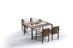 椅子および表Bp3050を食事する特別なデザイン樹脂の柳細工の現代屋外の庭
