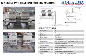 Holiauma 2 맨 위 상업적인 자수 기계 모자 자수 기계 가격