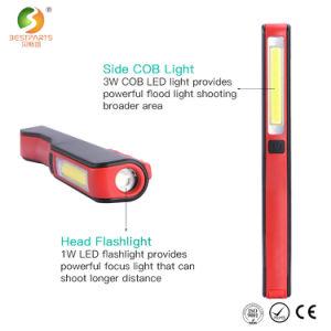 Phare de travail 3W COB LED rechargeables USB Feu de travail de plumes