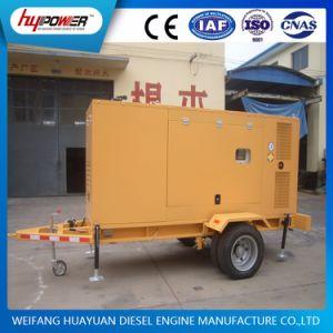 90kw非常時に備えて2つの車輪が付いている移動式トレーラーの発電機セット