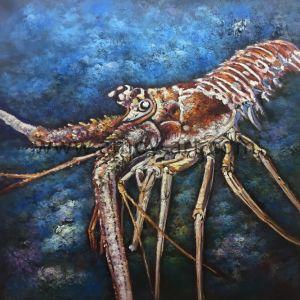 ハンドメイドのパレットナイフのキャンバスの壁の芸術のイセエビの油絵