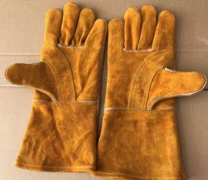 Luvas de trabalho de couro vermelho de protecção de segurança resistente ao calor; Couro&; Trabalho de soldar; Luvas