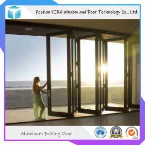 Buena retroalimentación de cristal templado doble salto térmico de la puerta plegable de aluminio