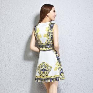 De nouvelles sans manches en Soie imprimée vêtements de femmes de grande taille