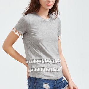 단단한 술 손질 간결 소매 t-셔츠
