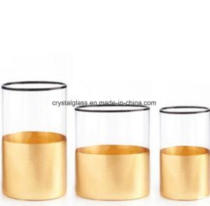 Forme ronde porte-bougie avec socle d'or