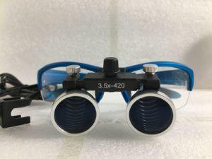 歯科ルーペ3.5X LEDのヘッド軽いランプが付いている420のmmの外科拡大鏡の双眼拡大鏡