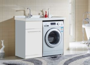 Vanidades de un estilo moderno cuarto de baño lavadora armario con ...