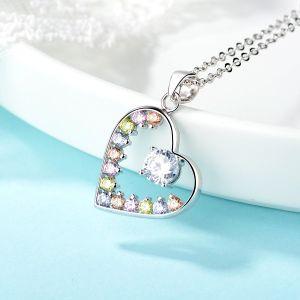 Pendente Heart-Shaped variopinto della CZ dell'argento sterlina 925