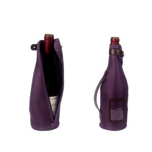 Seule Bouteille de vin en néoprène personnalisé Sac avec fermeture éclair (6151R31)