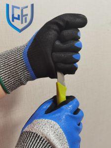 La sécurité 13G Les gants en nitrile Hppe résistant aux coupures avec 3/4 enduit d'abord en nitrile paume enduite de sable en nitrile