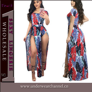 2017 La Mujer Moda Boho de desgaste de la playa de Verano Maxi vestido (TSN0479)