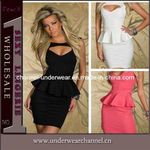 Fashion Lady Mini robes sans manches Peplum occasionnel (N122)